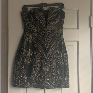 Express black and gold mini dress
